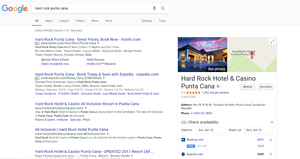 example of hotel brand search blocking a digital media must do tactic